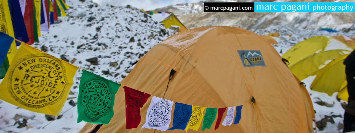 Kabuki prayer flags at base camp on Mount Everest