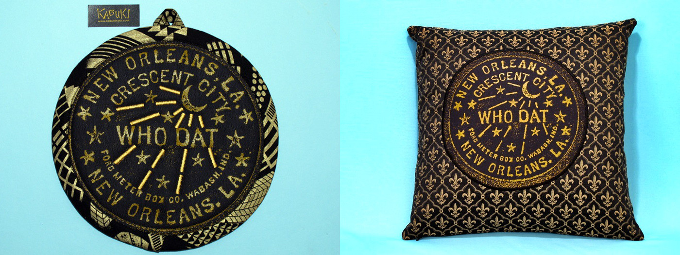 Handcrafted Who Dat potholder and clutch